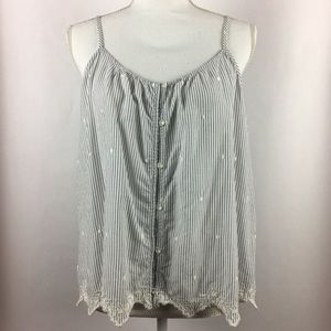LC Lauren Conrad Button Front Embroidered Top